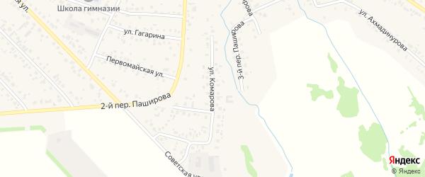 Улица Комарова на карте села Кушнаренково с номерами домов