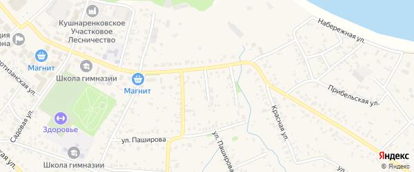 Октябрьской 2-й переулок на карте села Кушнаренково с номерами домов