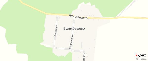 Школьная улица на карте деревни Булякбашево с номерами домов