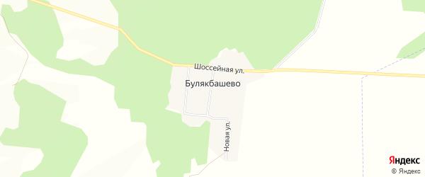 Карта деревни Булякбашево в Башкортостане с улицами и номерами домов