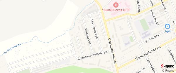 Западная улица на карте села Чишм с номерами домов