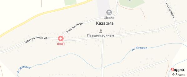 Центральная улица на карте села Казармы с номерами домов