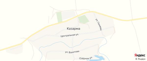Карта села Казармы в Башкортостане с улицами и номерами домов
