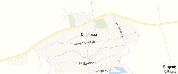 Карта казармы УЕ-394/13 города Уфы в Башкортостане с улицами и номерами домов
