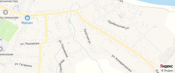 Красная улица на карте села Кушнаренково с номерами домов