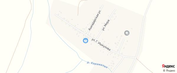 Улица Ишкулова на карте села Новояушево с номерами домов