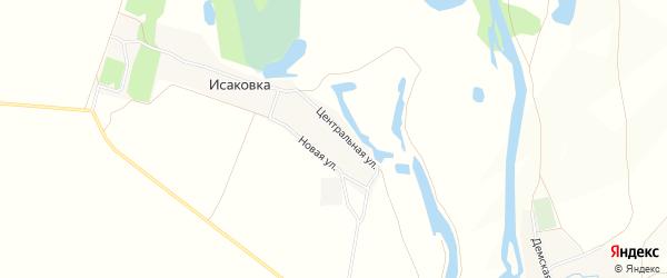 Карта деревни Исаковки в Башкортостане с улицами и номерами домов