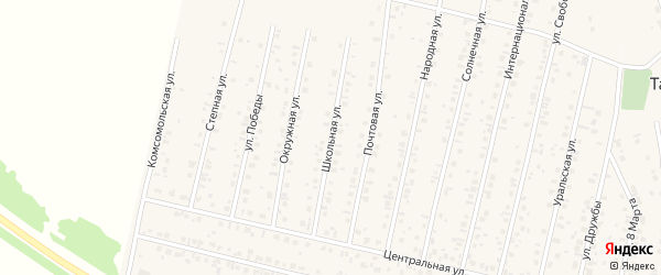 Школьная улица на карте села Тарабердино с номерами домов