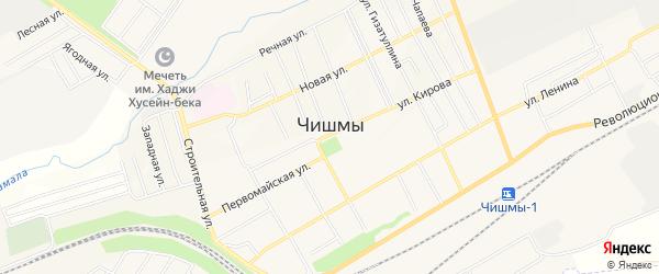 Карта села Чишм в Башкортостане с улицами и номерами домов