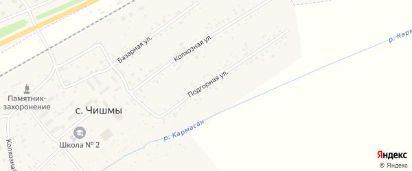 Подгорная улица на карте села Чишм с номерами домов