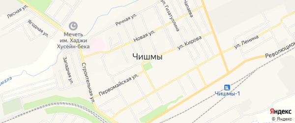 СТ СНО Сахарник-2 на карте поселка Чишмы с номерами домов