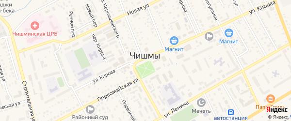 Улица Новостроителей на карте поселка Чишмы с номерами домов