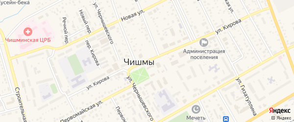 Переулок Кирова на карте поселка Чишмы с номерами домов