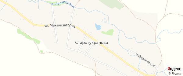 Улица Механизаторов на карте деревни Старотукраново с номерами домов