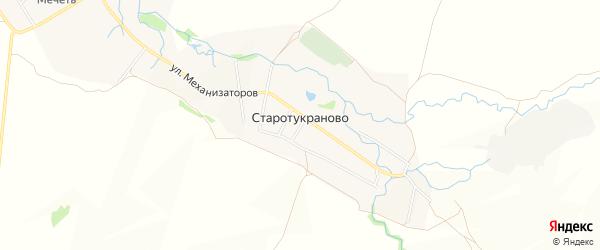 Карта деревни Старотукраново в Башкортостане с улицами и номерами домов