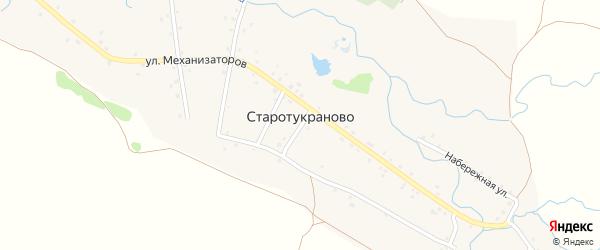 Набережная улица на карте деревни Старотукраново с номерами домов