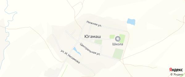 Карта села Югамаша в Башкортостане с улицами и номерами домов