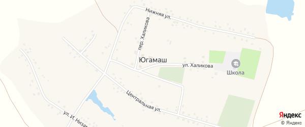 Переулок Ф.Халикова на карте села Югамаша с номерами домов