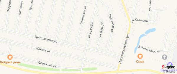 Улица Дружбы на карте села Тарабердино с номерами домов