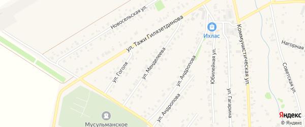 Улица Менделеева на карте села Бураево с номерами домов