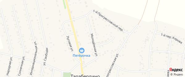 Молодежной переулок на карте села Тарабердино с номерами домов