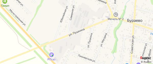 Улица Пушкина на карте села Бураево с номерами домов