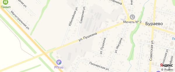 Улица Пушкина на карте деревни Старокизганово с номерами домов