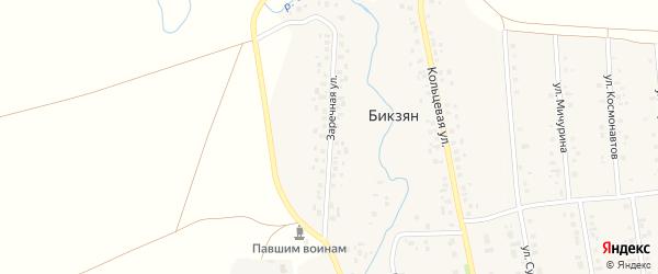 Заречная улица на карте деревни Бикзяна с номерами домов