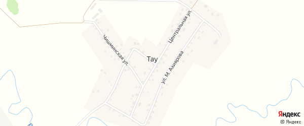 Чишминский переулок на карте деревни Тау с номерами домов