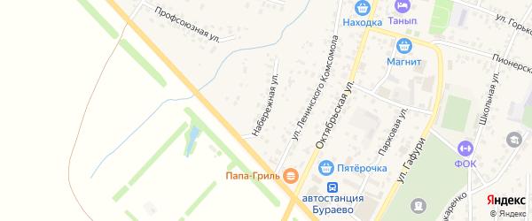 Набережная улица на карте села Бураево с номерами домов