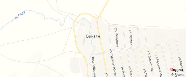 Карта деревни Бикзяна в Башкортостане с улицами и номерами домов