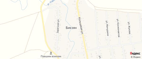 Кольцевая улица на карте деревни Бикзяна с номерами домов