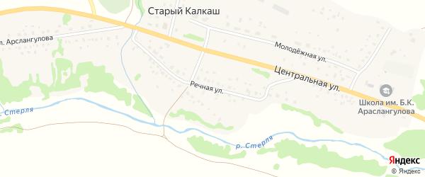 Речная улица на карте деревни Старого Калкаша с номерами домов