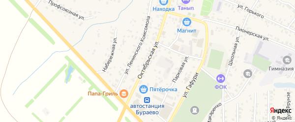 Октябрьская улица на карте села Бураево с номерами домов