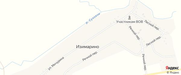 Речной переулок на карте деревни Изимарино с номерами домов