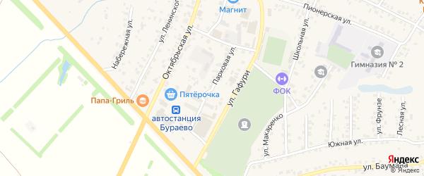 Парковая улица на карте села Бураево с номерами домов
