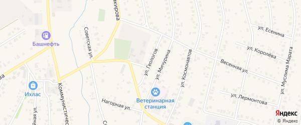 Улица Геологов на карте села Бураево с номерами домов