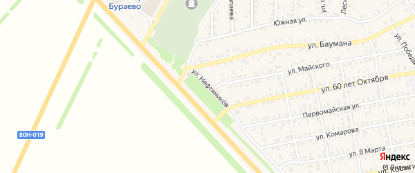 Улица Нефтяников на карте села Бураево с номерами домов