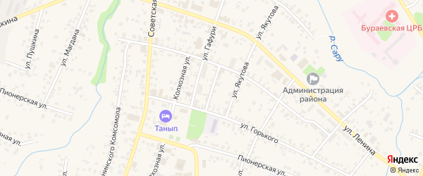 Улица Вострецова на карте села Бураево с номерами домов