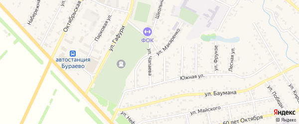 Улица Чапаева на карте села Бураево с номерами домов