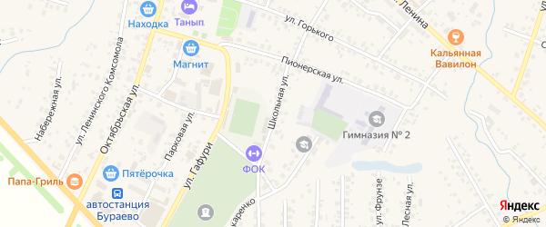 Школьная улица на карте села Бураево с номерами домов
