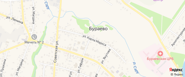 Улица К.Маркса на карте села Бураево с номерами домов