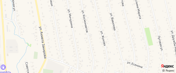 Улица Космонавтов на карте села Бураево с номерами домов