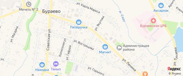 Улица Якутова на карте села Бураево с номерами домов