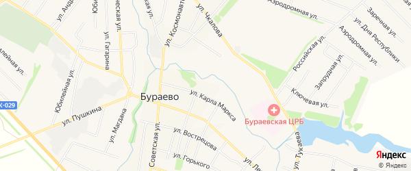 Карта села Бураево в Башкортостане с улицами и номерами домов