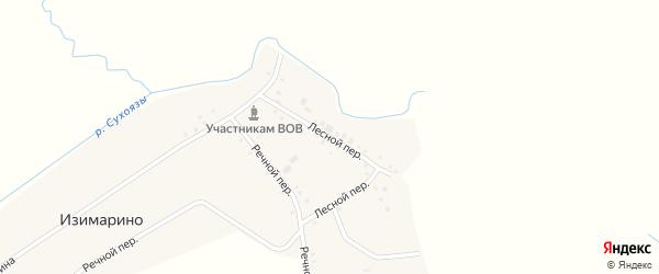 Лесной переулок на карте деревни Изимарино с номерами домов