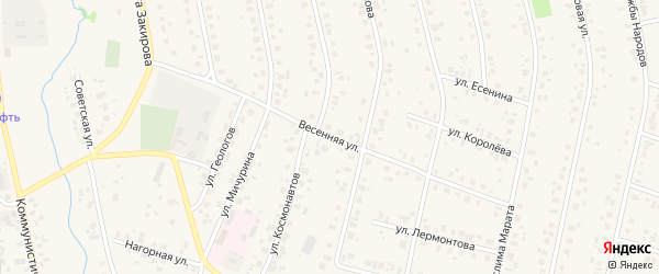 Весенняя улица на карте села Бураево с номерами домов