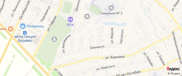 Улица Худайбердина на карте села Бураево с номерами домов