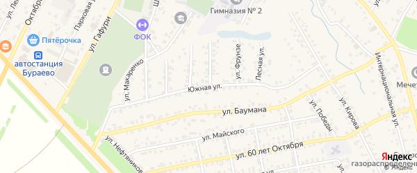 Южная улица на карте села Бураево с номерами домов