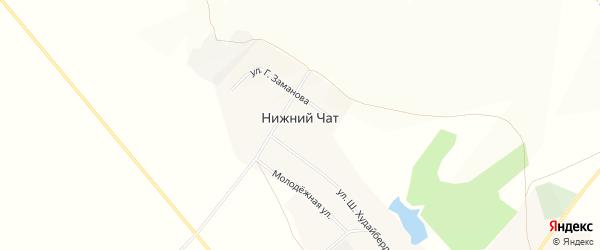 Карта деревни Нижнего Чата в Башкортостане с улицами и номерами домов